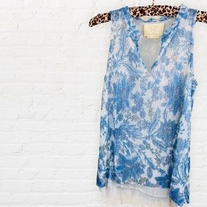 Anthropologie Grand Cayman Top Blue Floral